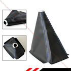 Black Pvc Leather Manual Shift Shifter Boot Cover With Blue Stitching For Toyota