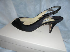 "JIMMY CHOO ""ABRINA"" GROSGRAIN BLACK STRAP SANDALS  SIZE UK 39.5 EU 6.5  VGC"