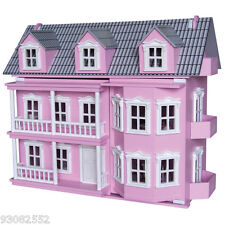 Wooden Pink  Victorian Doll House-7 Dolls and 25 pieces of furniture Timbertop