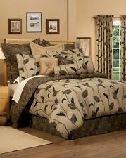 4pc Goregeous Brown/Beige/Gold Modern Floral Comforter Set Cal King