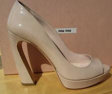 MIU MIU by PRADA nude shoe platform peep toe 39 9 AUTHENTIC