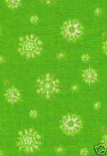 Christmas Green Metallic Snowflakes Fabric    32""