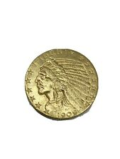 1909-D US $5 GOLD INDIAN HALF EAGLE BEAUTIFUL GOLD COIN! 🔥