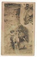 RPPC Older Ladies Donkeys Elk, Waterfall COLORADO SPRINGS CO Real Photo Postcard