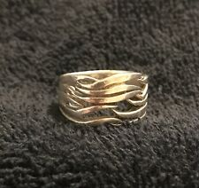 Sterling Silver ~5 grams Wide Band Stacked Branches Design Ring Size 6.5