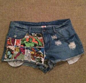 marvel denim shorts große 38