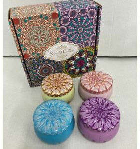 4PK Scented Tin Candles Floral Rose Lavender Christmas Gift AGE UK