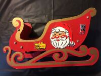 Vintage Collapsible Wooden Christmas Sleigh With Santa