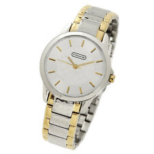 NWT COACH CLASSIC SIGNATURE C TWO TONE STAINLESS STEEL WOMENS WATCH 14501610