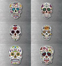 Sugar skull 6 pack day of the dead sticker 7 year water & fade proof vinyl car