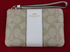 New Authentic Coach F58035 PVC Corner Zip Wristlet Wallet, Chalk $75+Tax