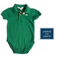 Janie & Jack Green Polo Short Sleeve Snap Collared Bodysuit Toddler Boy Size 3T