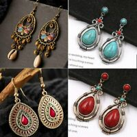 Retro Womens Boho Turquoise Gem Water Drop Dangle Earrings Ear Stud Shell Tassel