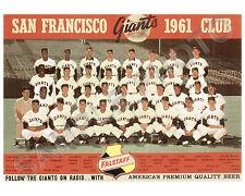 1961 SAN FRANCISCO GIANTS BASEBALL 8x10 TEAM PHOTO