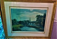 Vintage Print Abingdon Bridge & Church  William Havell Engraved  R. Havell