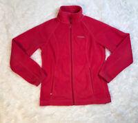 Columbia Fleece Zip Up Jacket Womens Size S Small Pink Pocket Sweatshirt