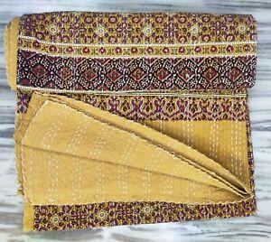 New Golden Yellow Colour Kantha Work Reversible Cotton Blanket Queen Size Throw