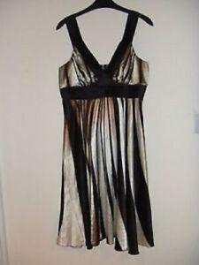 Gorgeous Black, Bronze & Cream Sleeveless Dress from Vila - Size Large - Great!