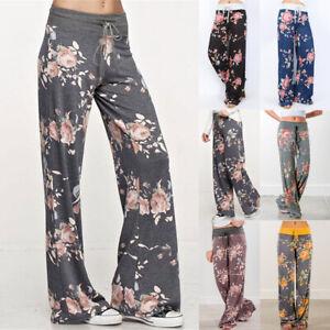 Autumn UK Womens Bottoms Elastic Wide Yoga Floral Ladies Pajamas Pants Trousers