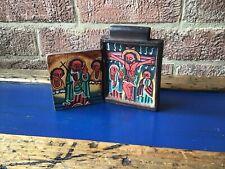 COPTIC Ethiopian Wooden ICON handpainted crucifixion  & st peter