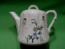 Vintage Porcelier Vitreous china teapot. Tree trunk shaped w/handpainted flowers