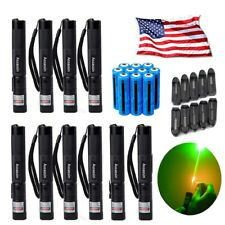 10×Green Laser Pen 200Mile 532nm Amazing Tactical Lazer Beam +Battery +Charger