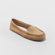 New Stars Above Gemma Moccasin Slippers Womens Tan Genuine Swede Size 9