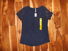 NWT Womens LEO & NICOLE Navy Blue Lace Shirt Size S Small