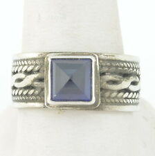 Handmade Vintage 925 Sterling Silver Ring Size 9.5 with 7mm Genuine Sapphire