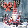 (296) TWO Individual Paper LUNCHEON Decoupage Napkins - CHRISTMAS GNOME TOMTE