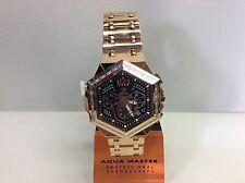 Men Aqua Master Jojo Jojino Joe Rodeo Rose Metal Band 48mm Diamond Watch W#356-6