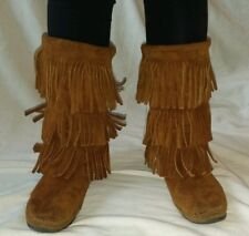 Womens MINNETONKA  3-Layer Fringe Boot/Moccasin, Brown Suede Leather, size 8