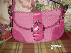 Coach Pink Canvas, Suede and leather purse # 6818