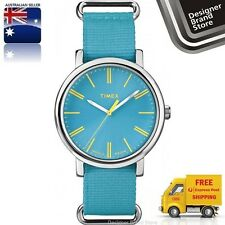 New Timex Originals Weekender Watch Turquoise Blue Nylon Strap Indiglo T2P363