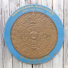1950's Vintage Mexicana Eastern Airlines Wood and Brass Mayan Sun Calendar Sign