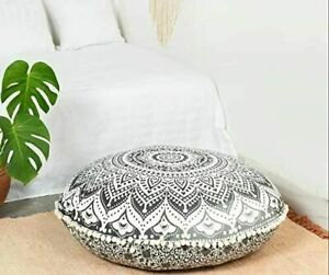 """Grey Ombre Mandala Cotton Indian Handmade Large Round Floor Cushion Cover 32"""" In"""