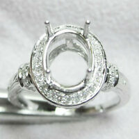8x10mm Oval Cut Solid 14kt 585 White Gold Natural Diamond Semi-Mount Ring