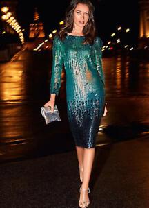 LADIES ONE BY KALEIDOSCOPE OMBRE SEQUIN SHIFT DRESS UK 12 BNWT