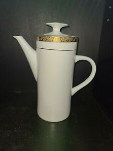 "STUNNING!!! SANGO EMPRESS GOLD WHITE with gold trim TALL COFFEE POT 9""tall"