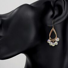 Dangle Earrings Made With Swarovski Crystals Sparkly Shiny Rose Gold Plated Drop