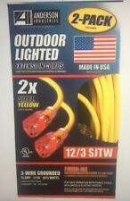 HEAVY DUTY 12/3 SJTW 50 ft. Extension LIGHTED PLUG Yellow Cord USA (Pack of 2)