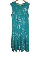 Charter Club Women's Green Floral Dress Stretchy Tie Waist New Plus Size 2X