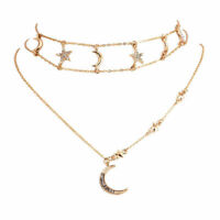 Boho Multilayer Choker Pendant Necklace Crystal Star Moon Chain Women Jewelry