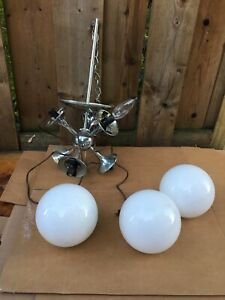 mid century lightolier sputnik globe chrome lamp for parts tulip molecule retro