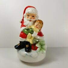 Vintage Enesco Music Santa Claus Coming to Town Santa Sleeping Baby Figurine a12