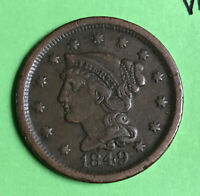1849 1c Braided Hair Large Cent Nice Vf Very Fine