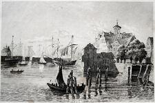 Hamburg Hamburger Hafen port original-Stahlstich 1844