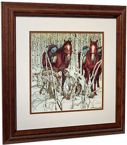 BEV DOOLITTLE  - Two Indian Horses (Detail) - Matted & Framed Art Print