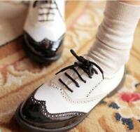 New  Womens Black/White Lace Up Punk Brogue Oxford Creepers Lady Shoes gfre