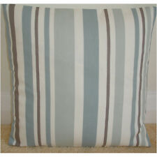 "20"" Cushion Cover Stripes Duck Egg Blue Beige Taupe Brown Cream Striped"